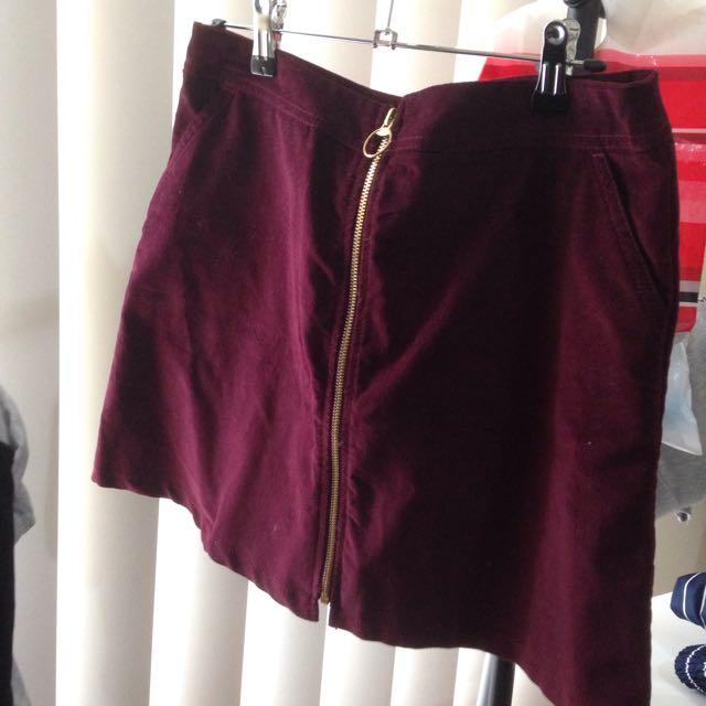Maroon Cord Skirt