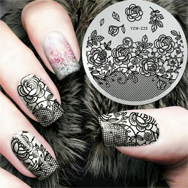 New Black Flower Lace Design Nail Stamping Plates Konad