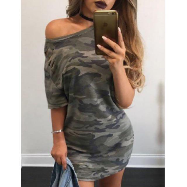 Off Shoulder Dress - Army