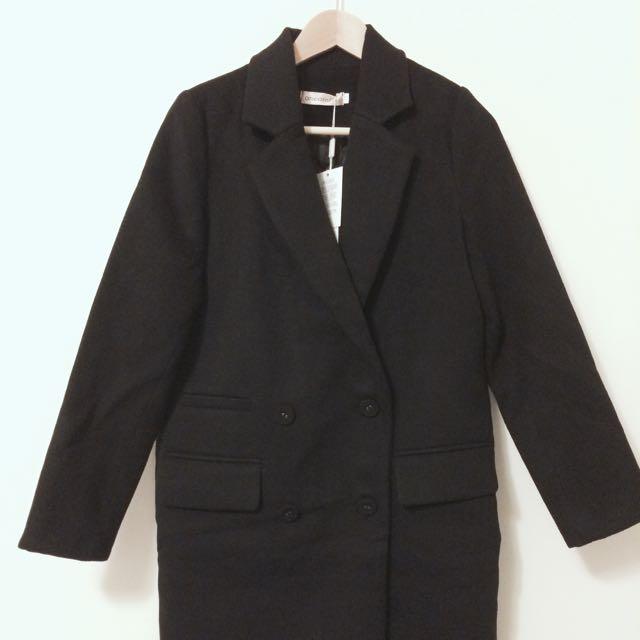 全新韓版秋冬新款長版Oversize毛呢加厚黑色大衣外套英倫風