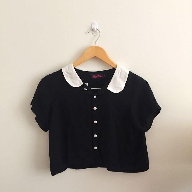 Peter Pan Collar Shirt Crop