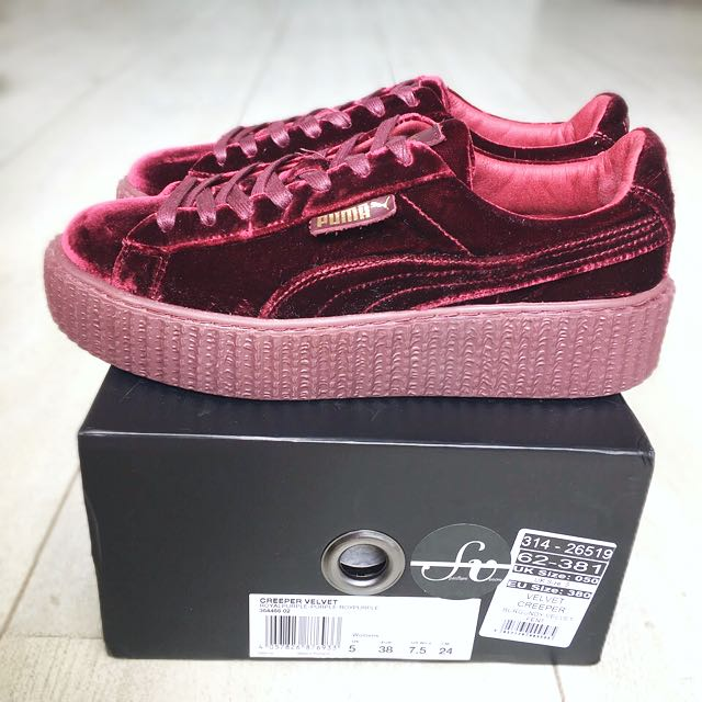 huge selection of 90bd3 b6672 Puma Fenty x Rihanna Velvet Creepers In Burgundy / Purple