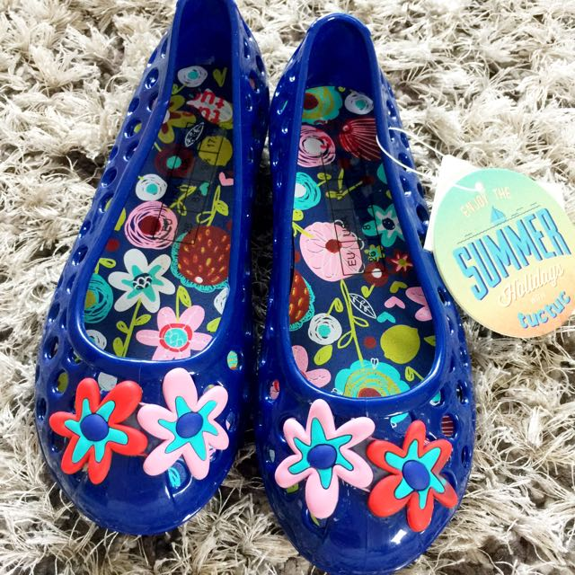 Rubber Blue/flowers Shoes  For Girls Size 26