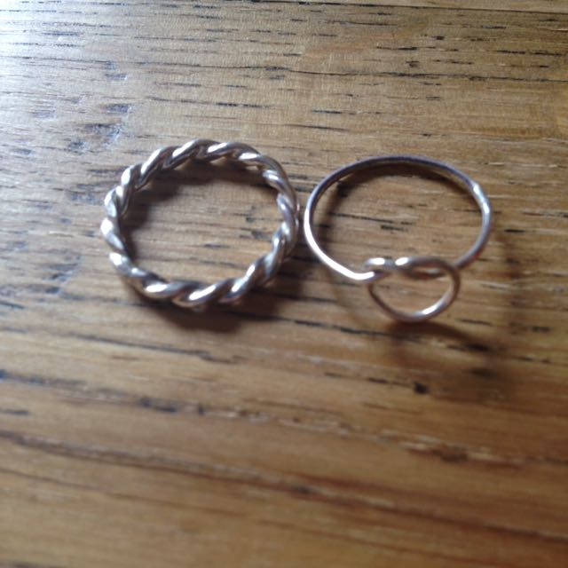 Small Silver Tie Knot Ring And Twisted Silver Ring