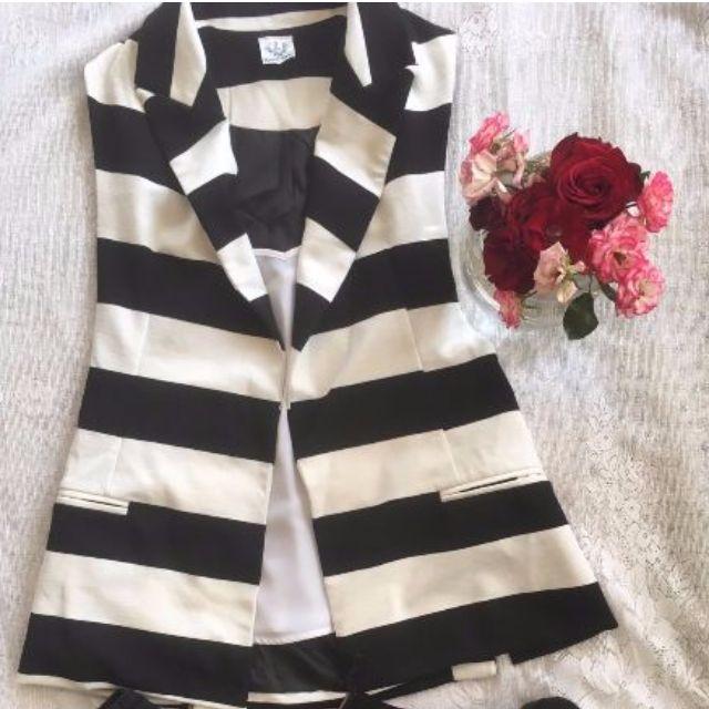 Striped Ladies Vest Size 8 NWT