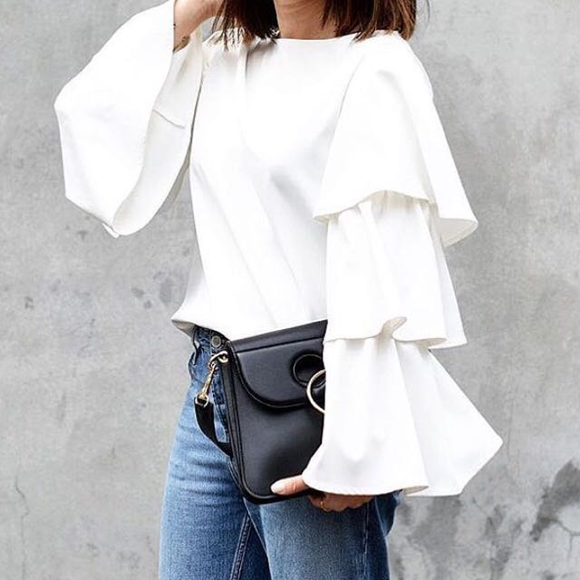 White Ruffle-sleeve Top