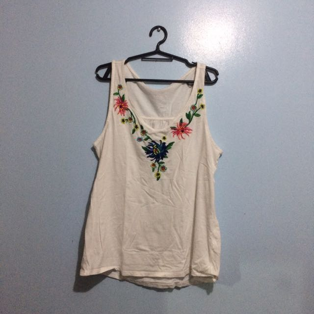 *PLUS SIZE* White Tank Top w/ Floral Accents