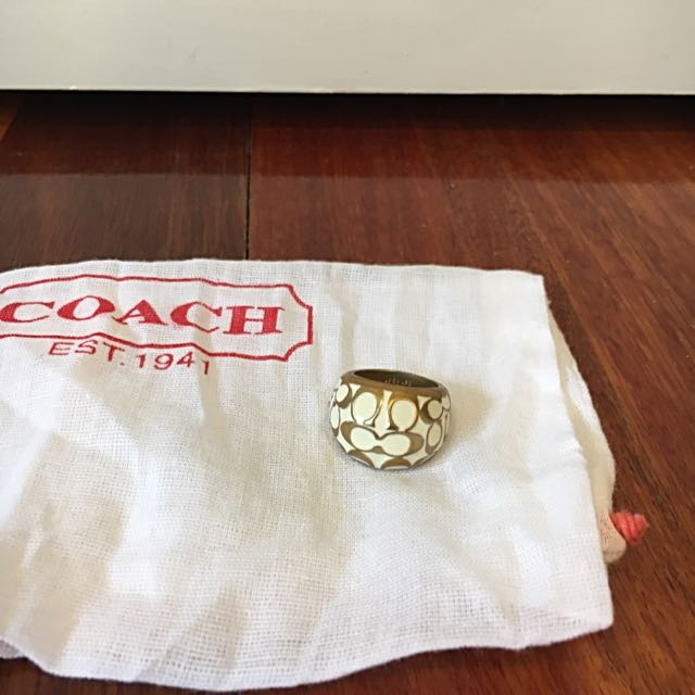 Women's Coach Gold And Cream Ring
