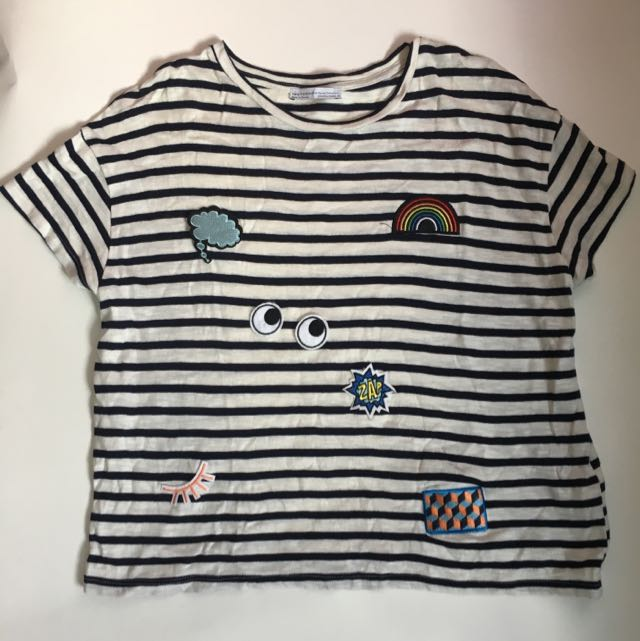 ZARA Striped Patches Tshirt (Medium)