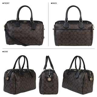 🚚 美國購入全新正品實品 Coach拼接皮革logo花色兩用手提側背包 波士頓包 枕頭包
