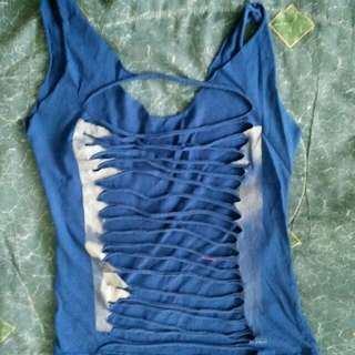 FREEBIE Blue Ripped Tank Top