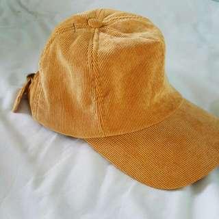 VINTAGE MUSTARD YELLOW CORDUROY BASEBALL CAP
