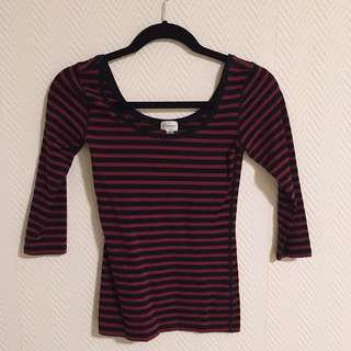Dynamite Striped Ballerina Top