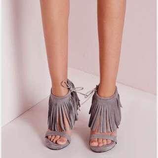 Size 37 Missguided Grey Tassel Heels