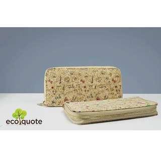 EcoQuote Zip Up Long Wallet Handmade Cork Material