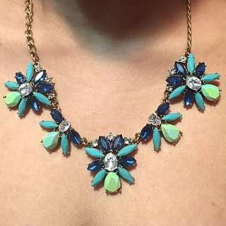 J CREW Blue & Seafoam Green Cluster Necklace