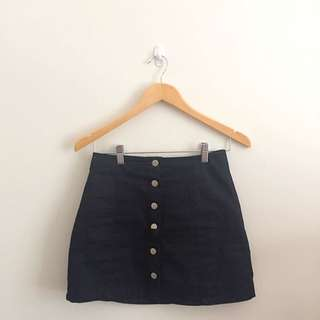 High Waisted Fitted Button Skirt