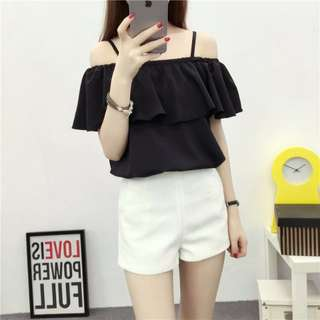[PO] Black Off Shoulder Blouse Top
