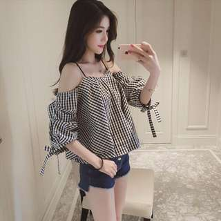 [PO] Checkered Grid Off Shoulder Blouse Top