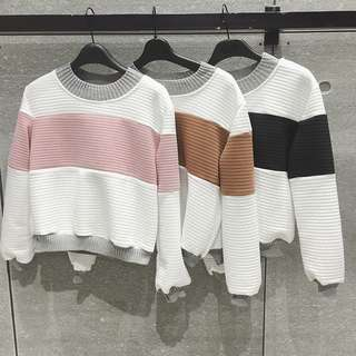 [PO] Colourblock Stripe Outline Pullover