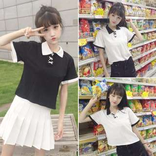 [PO] Korean Style Polo Ribbon Bow Collar Shirt Top