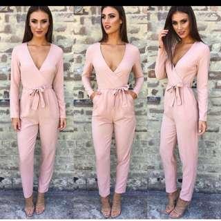 Long Sleeved Jumpsuit Pink