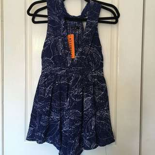 Beautiful Blue Plunging Neck Playsuit