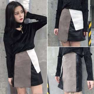 [PO] Colourblock A Line High Waist Skirt