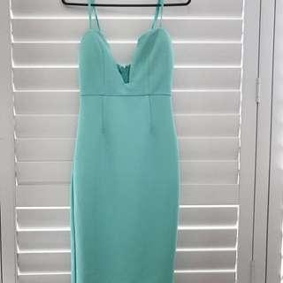 Midi Aqua Fitted Dress