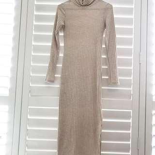 Beige Long Sleeve Midi Dress