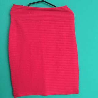 Fitted Pencil Neon Pink NY Square Skirt