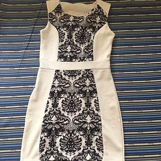 White & Black Floral Printed Dress
