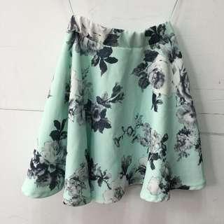 日貨 One way 藍綠色花柄短裙