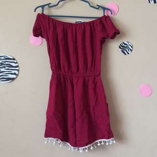 Maroon offshoulder jumpshort