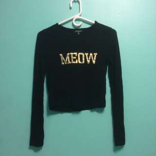 Long Sleeve Black Gold Meow Crop Top Size M
