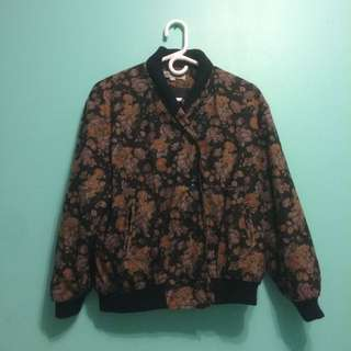 Vintage Jacket Flower Pattern Size M/L