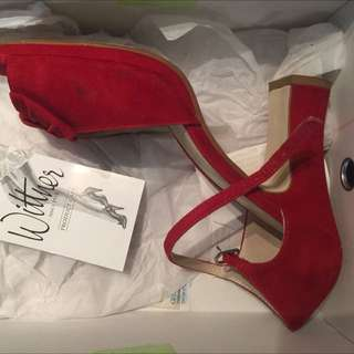 "WITTNER ""Mood"" Strappy Suede Heel (RED)"