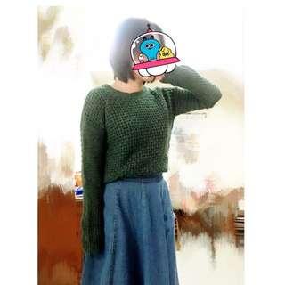🎈降🎈GAP 墨綠色個性針織上衣 (二手九成新/日本帶回)