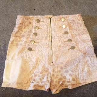 High Waist Leopard Print Hotpants Shorts Size 8