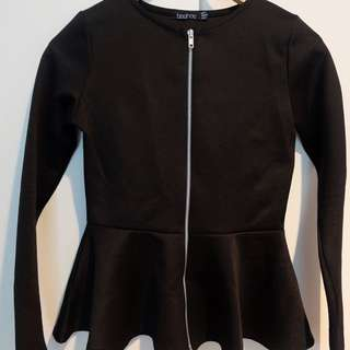 Black Longsleeves Peplum Top