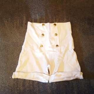 Zara White High Waist Military Style Shorts Size 6 - 8