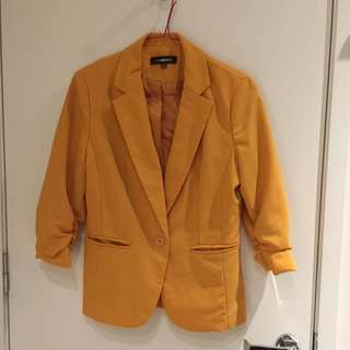 Size S Yellow Blazer Summer Casual W Sleeve Detail