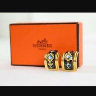Hermes Clip On Enamel Earrings
