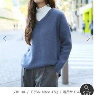 降價//GLOBAL WORK柔軟毛衣 (灰藍色M)