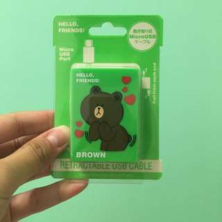 Line熊大 伸縮充電線