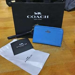 coach雙層手拿包 藍黑拼色