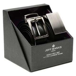 Man Leather Belt Jeff Banks Black Suit Size 34-36