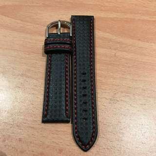 Red Stitches Genuine Leather Watch Strap