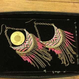 Asos 民族風 民俗風 螢光粉紅流蘇誇張耳環