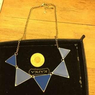 寶藍幾何三角項鍊